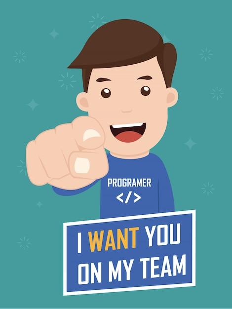 Personaje diciendo que te quiero en mi equipo. Vector Premium