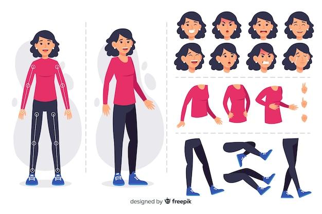 Personaje para diseño de movimient vector gratuito