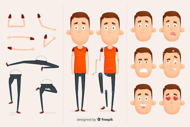 Personaje para diseño de movimiento vector gratuito