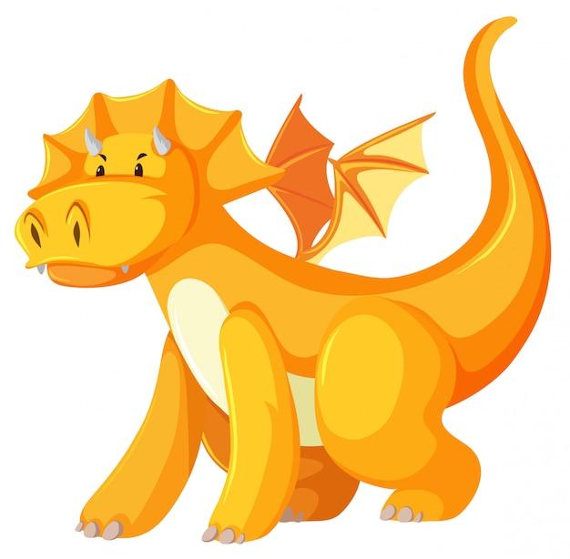 Un personaje de dragón amarillo. vector gratuito