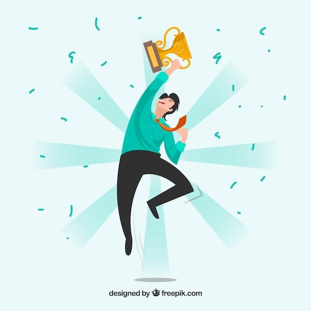 Personaje feliz ganando un premio diseño plano vector gratuito