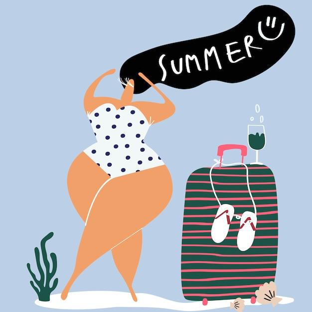 Personaje femenino disfrutando del vector de verano. vector gratuito