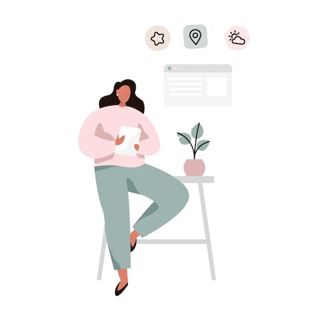 Personaje femenino que comprueba su calendario o clima y que hace tareas usando la tableta. ilustración de vector plano Vector Premium