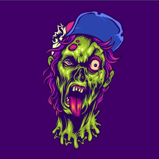 Personaje de halloween adolescente zombie Vector Premium