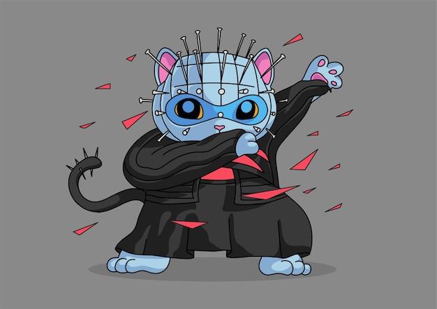 Personaje de halloween mascot cat dabbing style Vector Premium