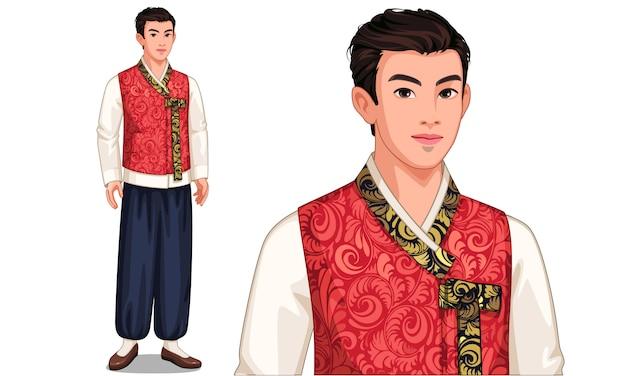 Personaje del hombre de corea del sur en traje tradicional. Vector Premium