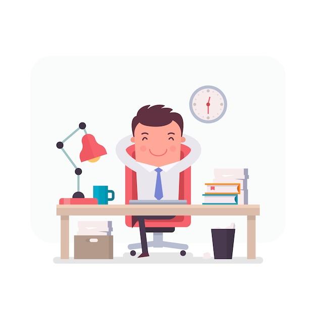 Personaje de hombre de negocios relajado en la oficina vector gratuito