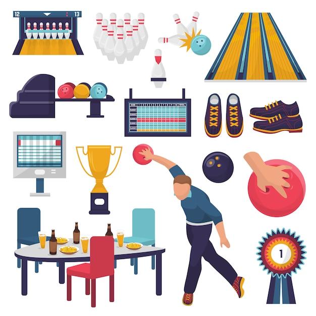 El personaje de hombre de vector de bolos juega al juego de kegling con bola de boliche en el callejón y lanza una bola a la ilustración de bolos. Vector Premium