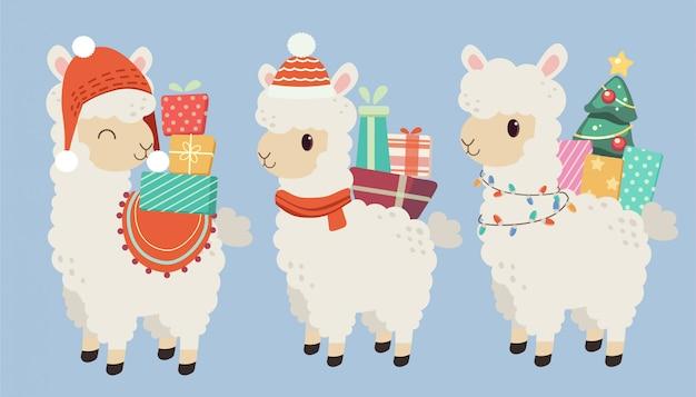 El personaje de la linda alpaca usa un sombrero rojo y su espalda tiene muchas cajas de regalo Vector Premium
