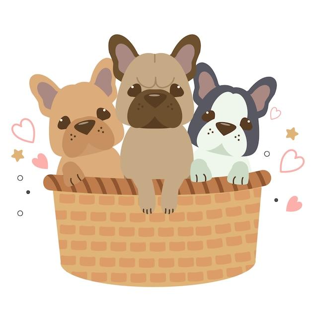 El personaje lindo bulldog francés sentado en la canasta grande. Vector Premium
