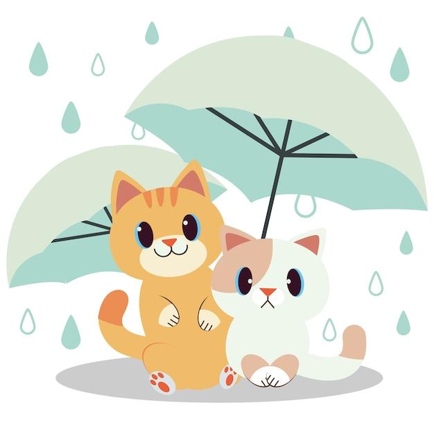 El personaje de lindo gato bajo el paraguas con una gota de lluvia. el lindo gato y amigo bajo el paraguas verde. Vector Premium