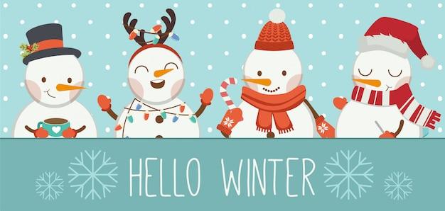 El personaje del lindo muñeco de nieve y sus amigos en el marco azul dicen hola invierno. Vector Premium