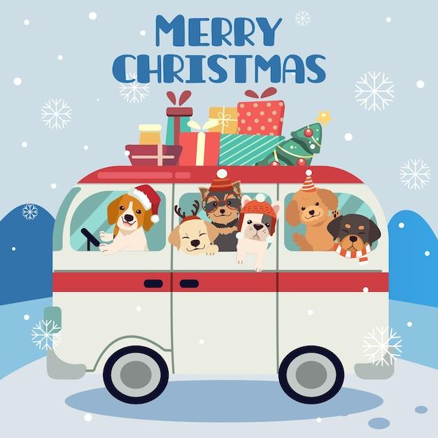 El personaje del lindo perro y amigos o familiares en un viaje a la parte navideña. Vector Premium
