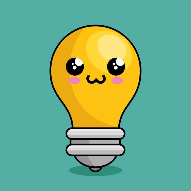 Personaje de luz de la bombilla kawaii