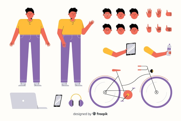 Personaje masculino de dibujos para diseño de movimiento vector gratuito