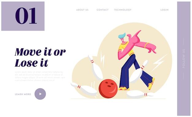 Personaje masculino lanza la bola golpeando el golpe perfecto en la bolera en la competencia de juegos deportivos Vector Premium