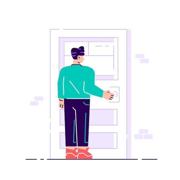 Personaje masculino sosteniendo un pomo de la puerta. entrando al edificio Vector Premium