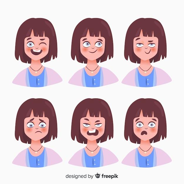 Personaje mostrando emociones vector gratuito