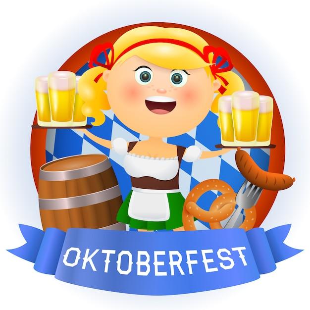 Personaje de mujer de dibujos animados de oktoberfest con cerveza y comida vector gratuito