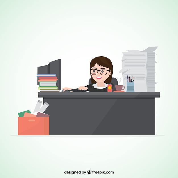 Personaje de mujer de negocios ocupada vector gratuito