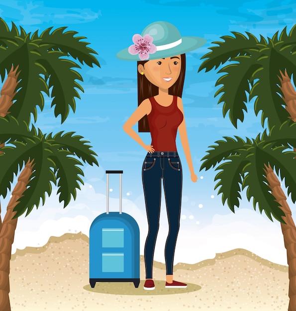 Personaje de mujer en la playa vector gratuito