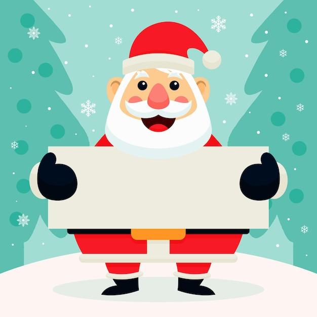 Personaje de navidad con banner en blanco Vector Premium