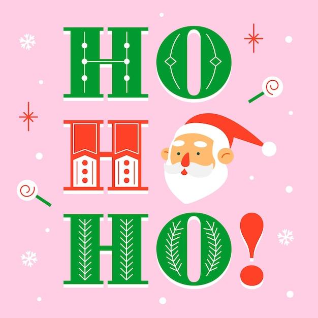 Personaje de navidad con letras vector gratuito