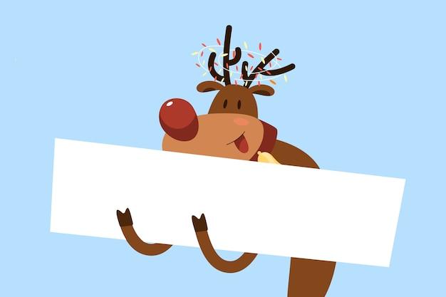 Personaje de navidad sosteniendo pancarta en blanco vector gratuito