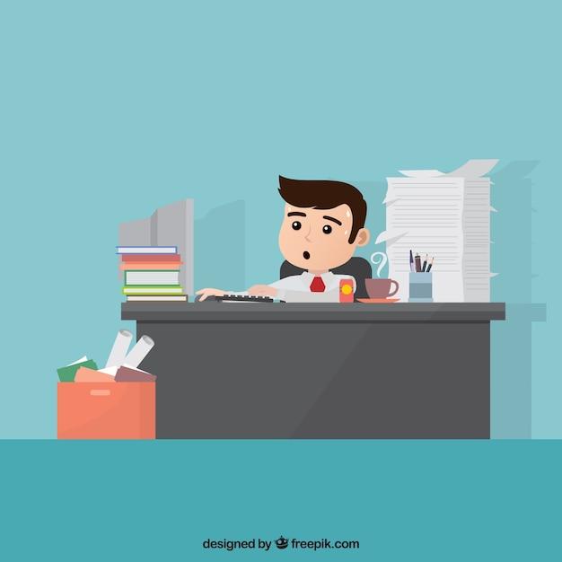 Personaje de negocios ocupado vector gratuito