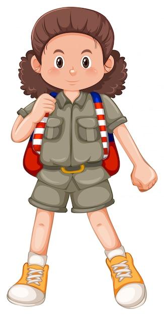Un personaje de niña acampada vector gratuito