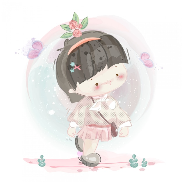 Personaje en niña encantadora y niño estilo acuarela. Vector Premium