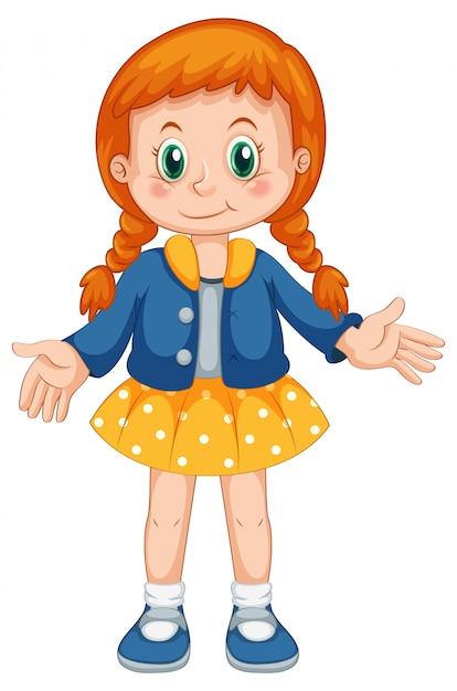 Un personaje de niña linda vector gratuito