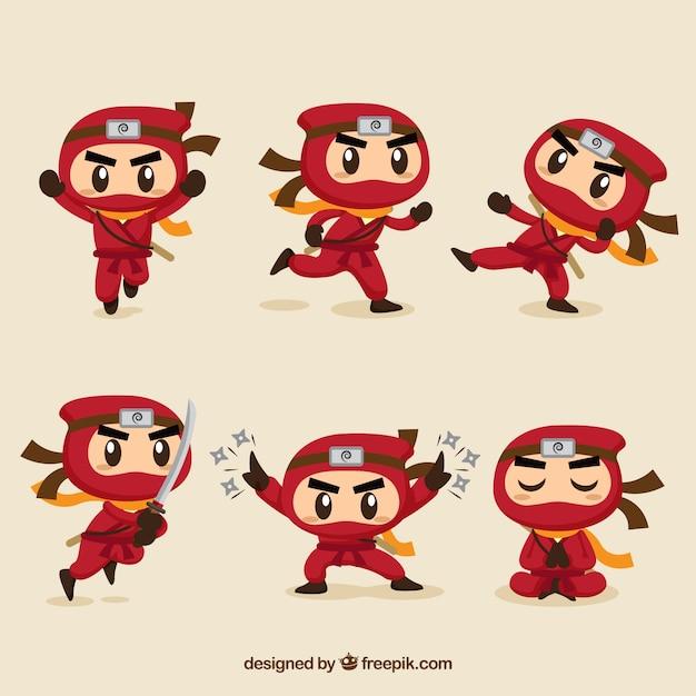 Personaje de ninja adorable en distintas posturas con diseño plano vector gratuito