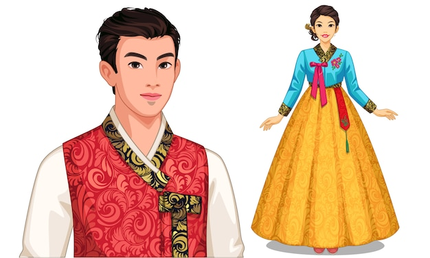 Personaje de pareja surcoreana en traje tradicional. Vector Premium