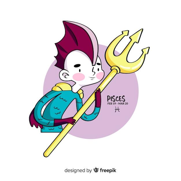 Personaje piscis guerrero dibujado a mano vector gratuito