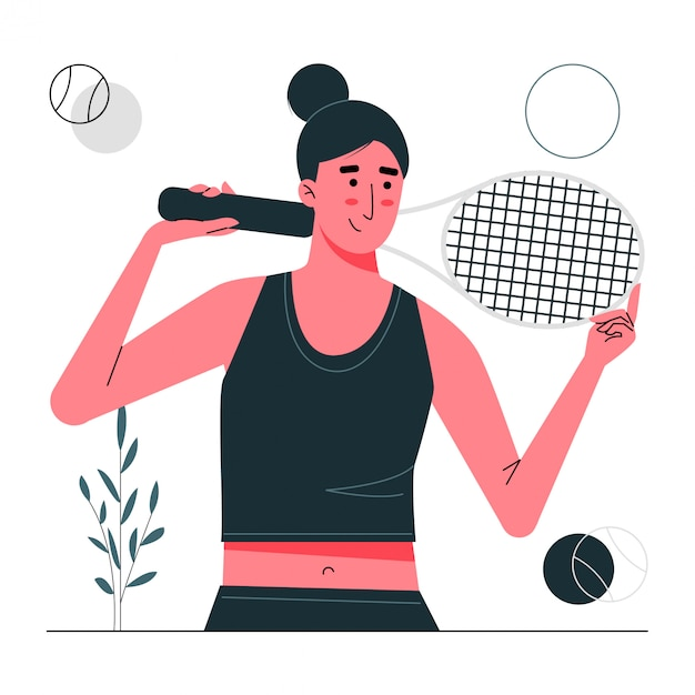 Personaje de pose de chica de tenis Vector Premium