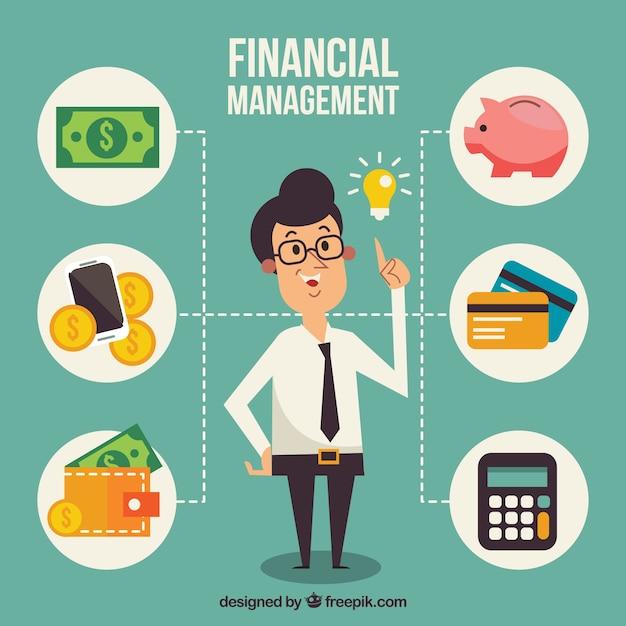 Personaje sonriente y elementos financieros Vector Gratis