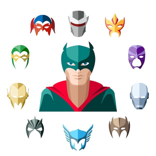 Personaje de superhéroe en estilo plano vector gratuito