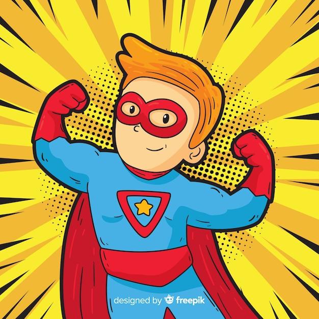 Personaje de superhéroe con estilo de pop art Vector Premium