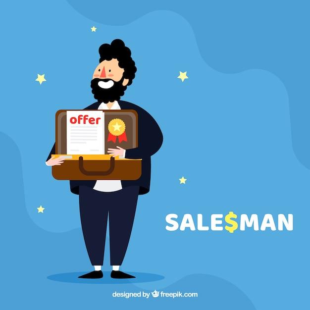 Personaje de vendedor feliz con diseño plano vector gratuito