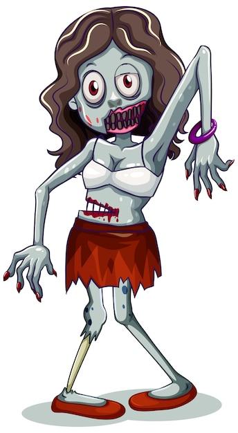 Personaje zombie sobre fondo blanco Vector Premium