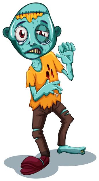 Personaje zombie sobre fondo blanco vector gratuito