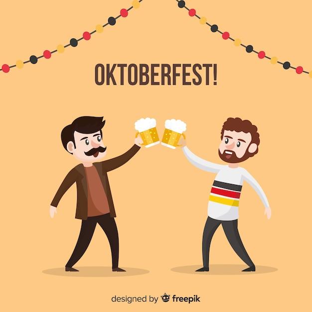 Personajes adorables celebrando el oktoberfest vector gratuito