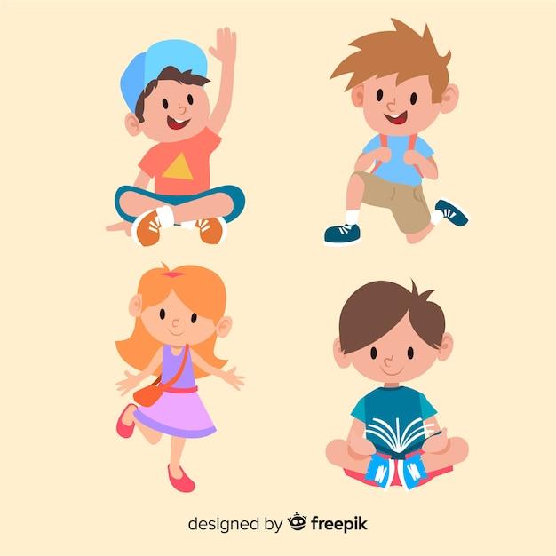 Personajes alegres de niños estudiando y jugando vector gratuito
