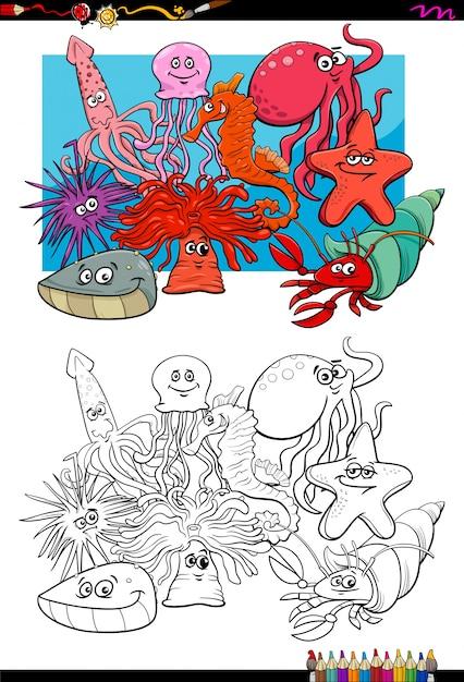 Personajes de animales de la vida marina para colorear | Descargar ...