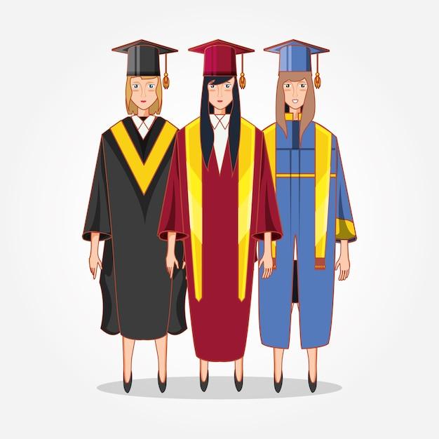 Personajes De Avatares De Mujeres Graduadas Vector Premium