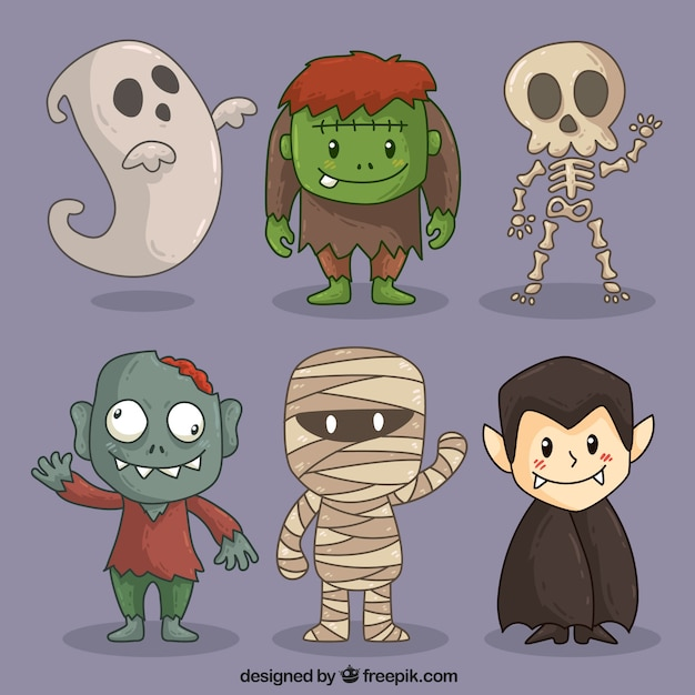 Personajes bonitos de halloween Vector Premium
