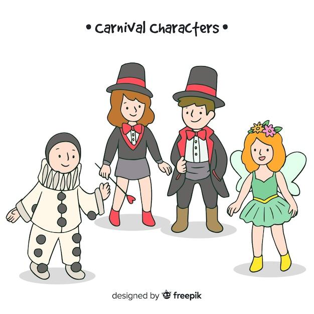 Personajes de carnaval con disfraces vector gratuito