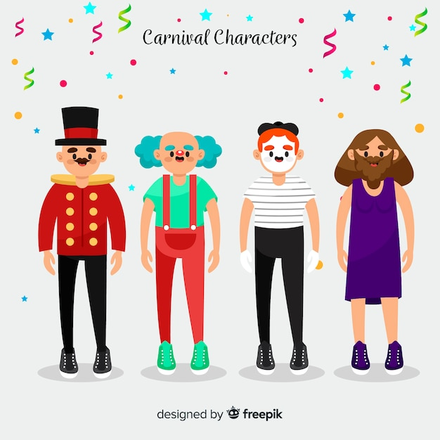 Personajes de carnaval disfrazados vector gratuito