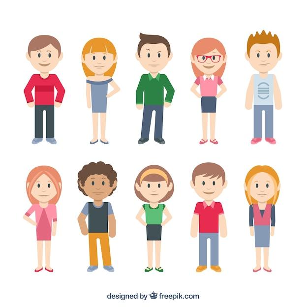 Cartoon Character Design Free Software : Personajes casual descargar vectores gratis